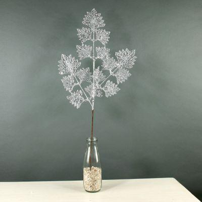 Glitter Grape Leaf Spray (Silver) (24/288)