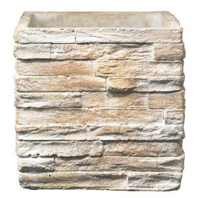 Latina Stonewall Ceramic Pot Stone Beige (21 x 21cm)