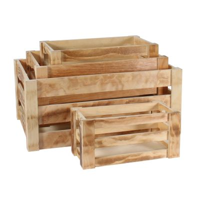 S/4 Pine Burnt Wood Crates (1/8)