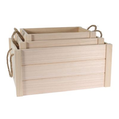 S/3 Natural Wood Crates w/rope handle (1/4)