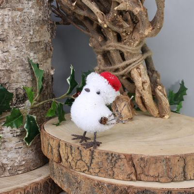 White bird w/santa hat (Small) (24/216)
