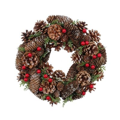 30cm Natural Pinecone w/Berries Wreath