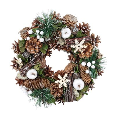 30cm Natural Snowy Woodland Wreath