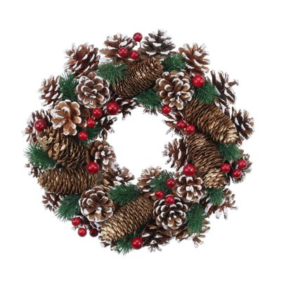 30cm Gold Pinecone w/Berries Wreath
