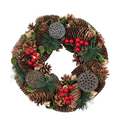 30cm Natural Pinecone w/Lotus Heads Wreath