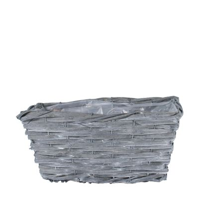31x21cm Rectangular Woodhouse Basket - Grey Wash
