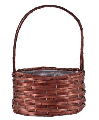 28x18cm Oval Woodhouse Basket with Handle - Nut Brown