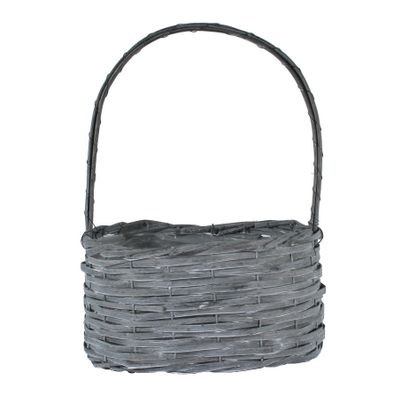 28x18cm Oval Woodhouse Basket with Handle - Grey Wash