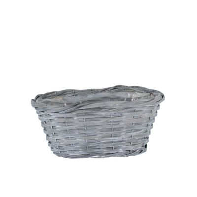 32x18cm Oval Woodhouse Basket - Grey Wash