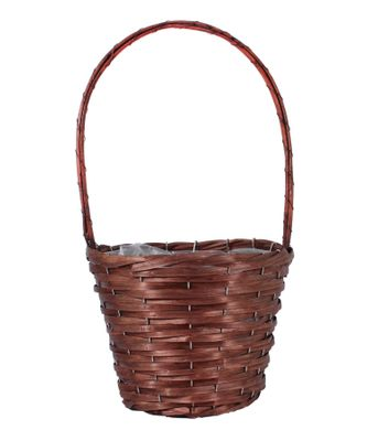 25cm Round Woodhouse Basket with Handle - Nut Brown