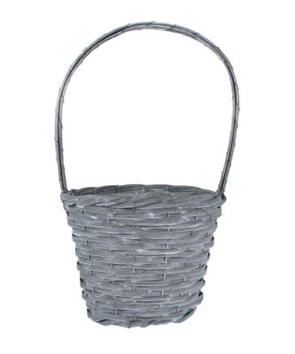 25cm Round Woodhouse Basket with Handle - Grey Wash