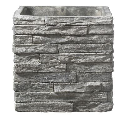 Latina Stonewall Ceramic Pot (24 x 24cm) - Stone Gray