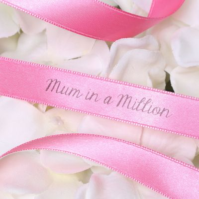 15mm Mum in a Million Printed Bright Pink Satin Ribbon