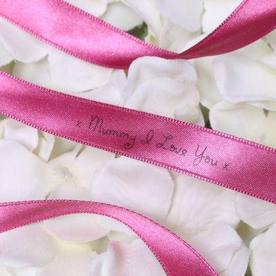 15mm Mummy I Love You Printed Deep Pink Satin Ribbon