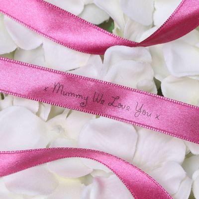 15mm Mummy We Love You Printed Deep Pink Satin Ribbon