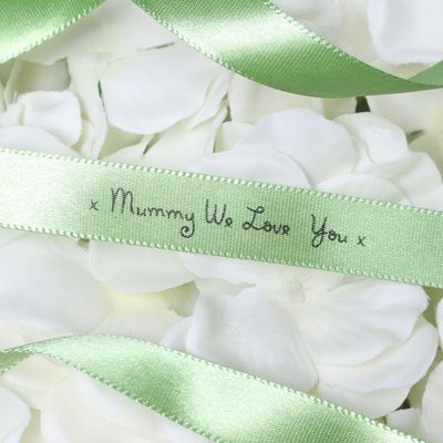15mm Mummy We Love You Printed Moss Green Satin Ribbon