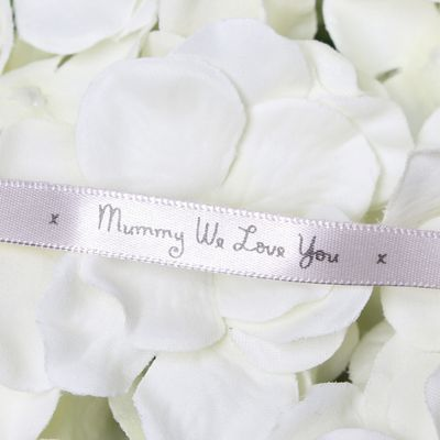10mm Mummy We Love You Printed Silver Satin Ribbon