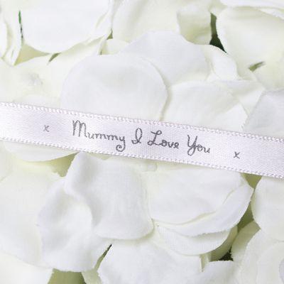 10mm Mummy I Love You Printed Silver Satin Ribbon