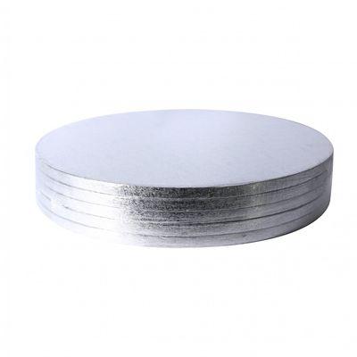 Round silver cake board