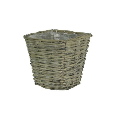 18cm Square Grey Rattan Planter (24)