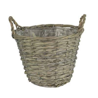 25cm Round Grey Rattan Basket w/Ears (24)