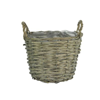 20cm Round Grey Rattan Basket w/Ears (24)