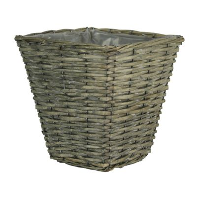 25cm Square Grey Rattan Planter (18)