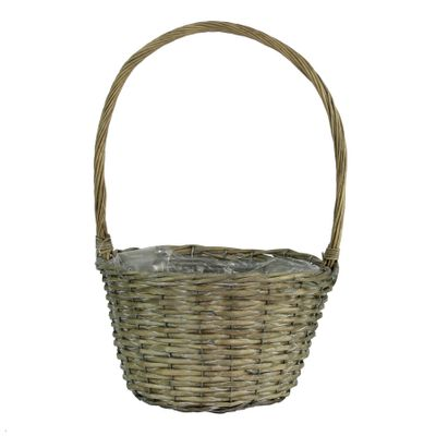 30cm Round Grey Willow Basket w/Handle (12)