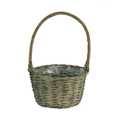 27cm Round Grey Willow Basket w/ Handle (12)