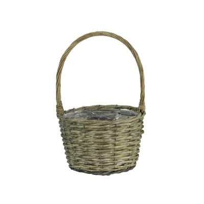 23cm Round Grey Willow Basket w/Handfle (24)