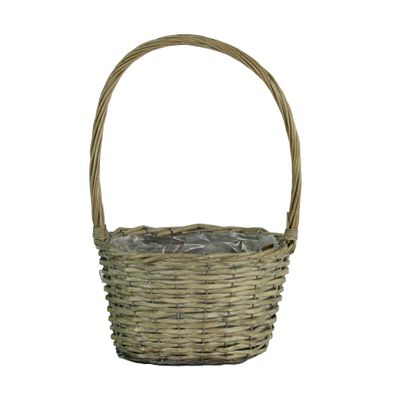 25cm Oval Grey Willow Basket w/Handle (12)
