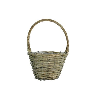 19cm Round Grey Willow Basket w/Handle (24)