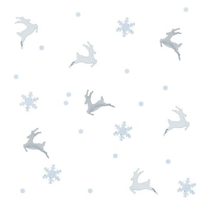 SILVER STAG AND SNOWFLAKE CONFETTI - SILVER CHRISTMAS