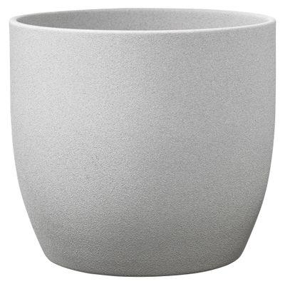 Basel Stone Ceramic Pot Light Gray Stone Effect 27cm