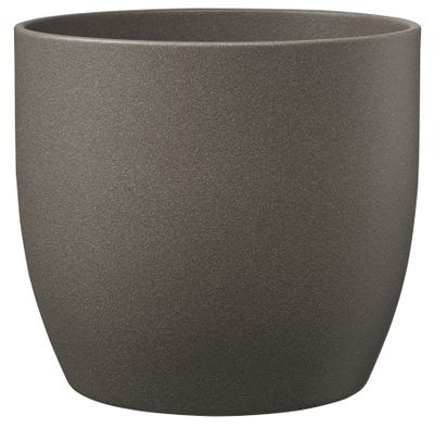 Basel Stone Ceramic Pot Gray Brown Stone Effect 21cm