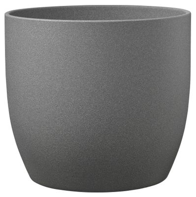 Basel Stone Ceramic Pot Dark Gray Stone Effect 24cm