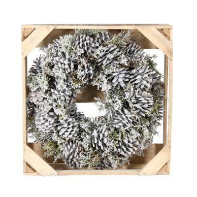 38cm Pinus Nigra Snowy Wreath w/preserved branch (1/6)