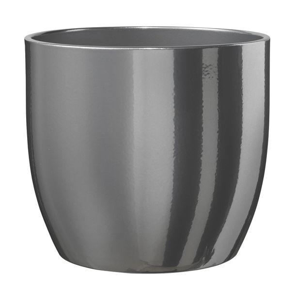 Basel Glamour Ceramic Pot - Shiny Silver 16cm