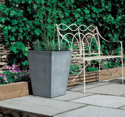 40cm Tall Square Beton Planter - Dark Grey