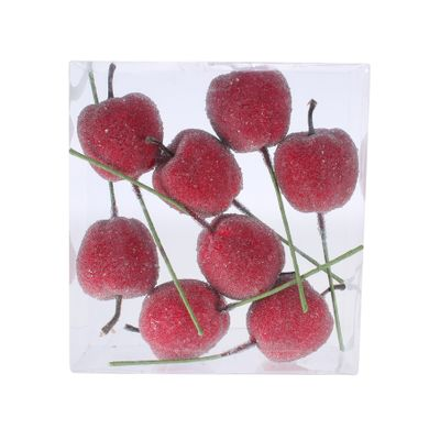 5cm Frosted Apple on Wire Red (12/120)