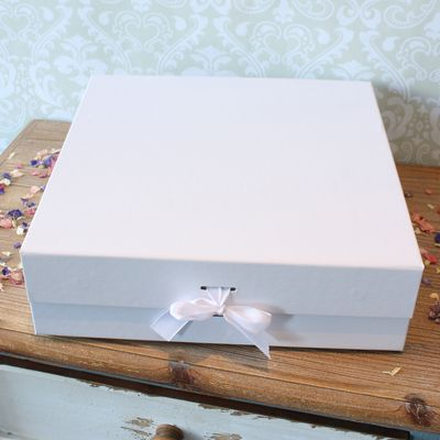 White Keepsake Box with Ribbon (30x30x9.2cm)