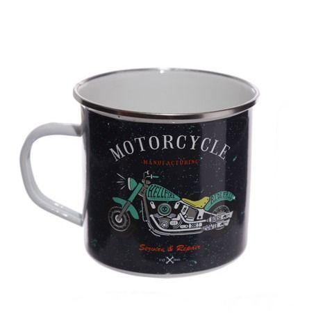 Retro Motorbike Design Enamel Mug