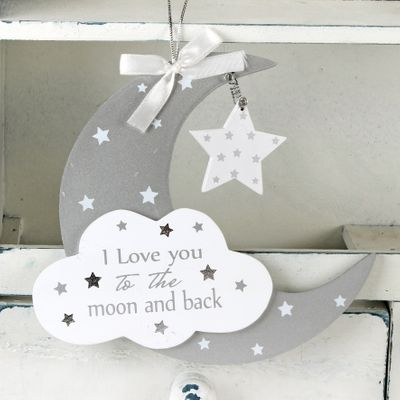 Moon and Star Hanging Plaque