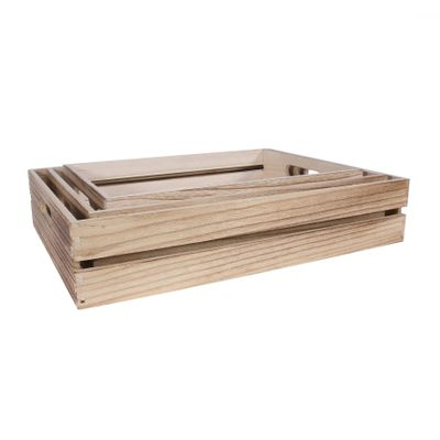 S/3 Natural Wood Trays w/handle (1/8)