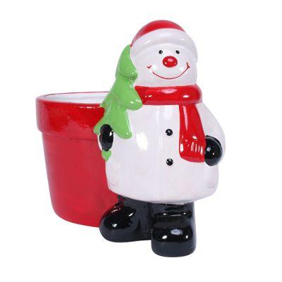 Novelty Ceramic Pot w/Snowman (24)