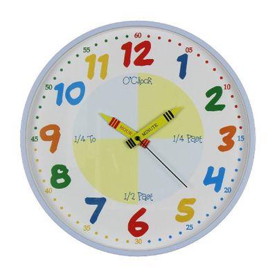 Hometime Teach The Time Blue Wall Clock
