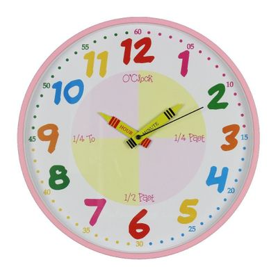 Hometime Teach The Time Pink Wall Clock (30 cm)