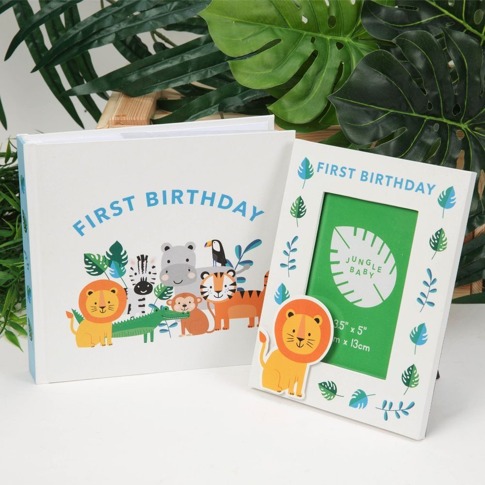 First Birthday Jungle Baby Paperwrap Photo Album & Frame
