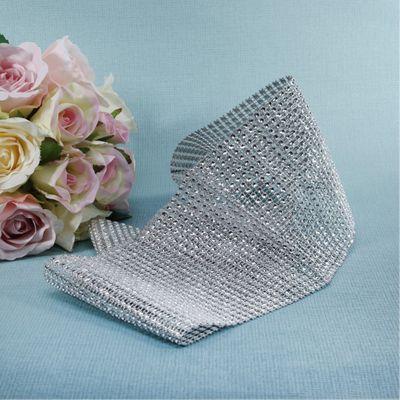 12.5cm x 1yd Diamante Ribbon Silver