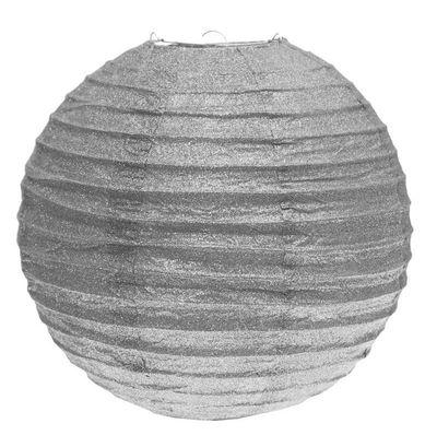 Silver Glittered Lantern 30cm